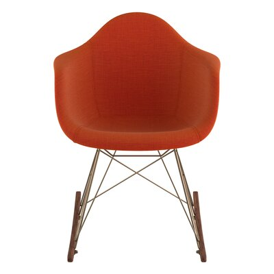 Arm Chair Upholstery: Lava Red, Finish: Brass