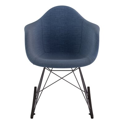 Arm Chair Upholstery: Dodger Blue, Finish: Gunmetal