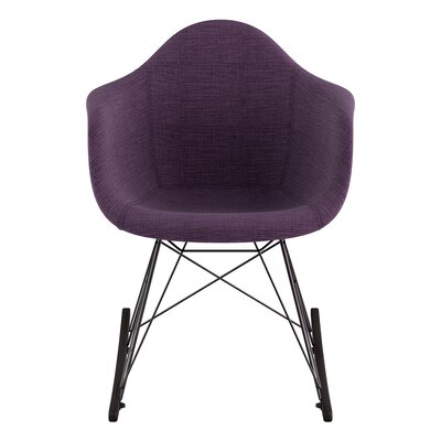 Arm Chair Upholstery: Plum Purple, Finish: Gunmetal