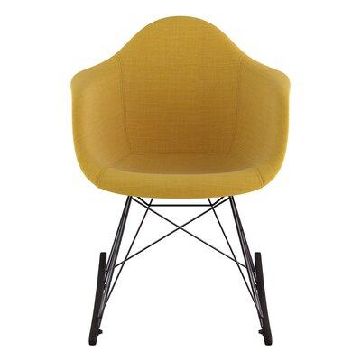 Arm Chair Upholstery: Papaya Yellow, Finish: Gunmetal