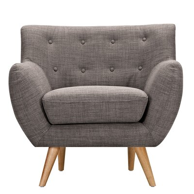 Ida Armchair Leg Finish: Natural, Upholstery Color: Aluminium Gray