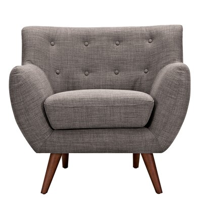 Ida Armchair Upholstery: Aluminium Gray, Leg Finish: Walnut