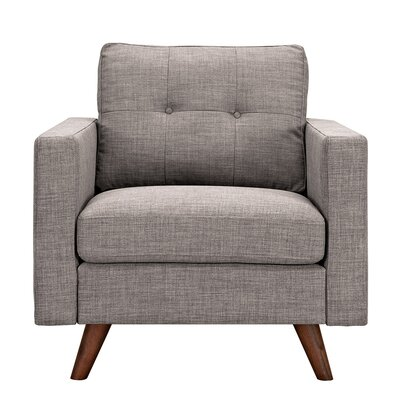 Uma Arm Chair Finish: Walnut, Upholstery: Aluminium Gray