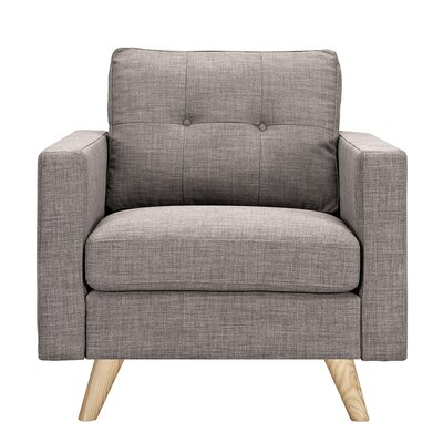 Uma Armchair Finish: Natural, Upholstery: Aluminium Gray