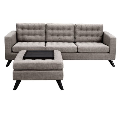 Mina Sofa and Ottoman Finish: Walnut, Upholstery: Stone Blue
