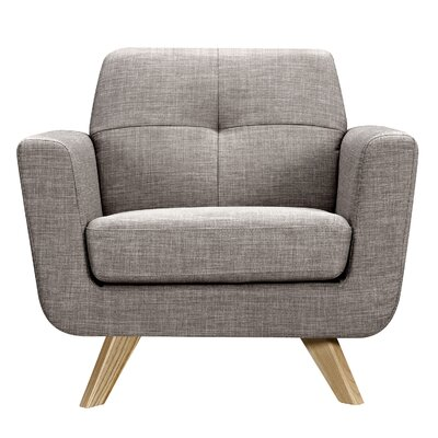 Dania Armchair Finish: Natural, Upholstery: Aluminium Gray