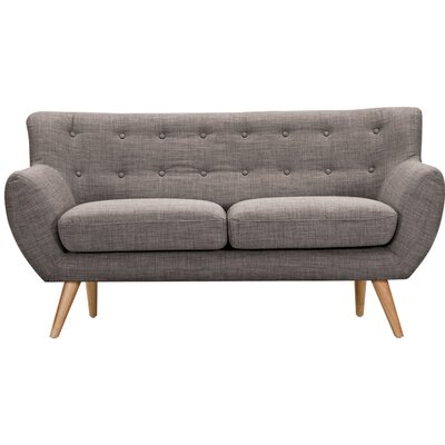 Ida Loveseat Frame Finish: Natural, Upholstery: Aluminium Gray