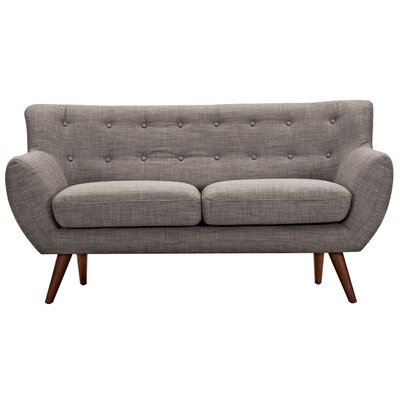 Ida Loveseat Frame Finish: Walnut, Upholstery: Aluminium Gray