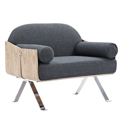 Jorn Arm Chair Upholstery: Charcoal Gray, Finish: Natural