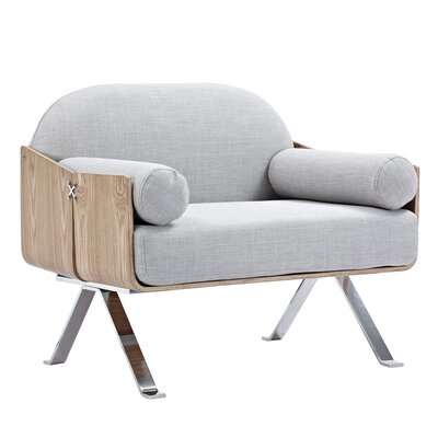 Jorn Arm Chair Upholstery: Glacier White, Finish: Natural