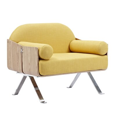 Jorn Armchair Upholstery: Papaya Yellow, Finish: Natural