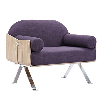 Jorn Armchair Upholstery: Plum Purple, Finish: Natural