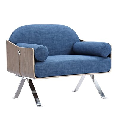 Jorn Armchair Upholstery: Dodger Blue, Finish: Walnut