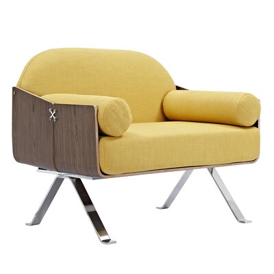 Jorn Armchair Upholstery: Papaya Yellow, Finish: Walnut