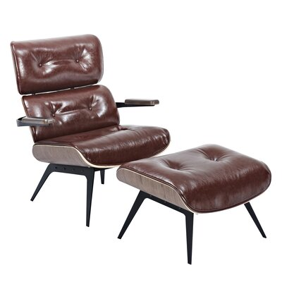 Eama Lounge Chair with Ottoman Upholstery: Aged Cognac, Finish: Walnut