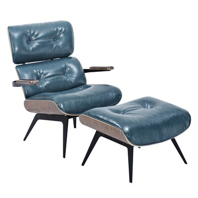 Eama Lounge Chair with Ottoman Upholstery: Dark Teal, Finish: Walnut