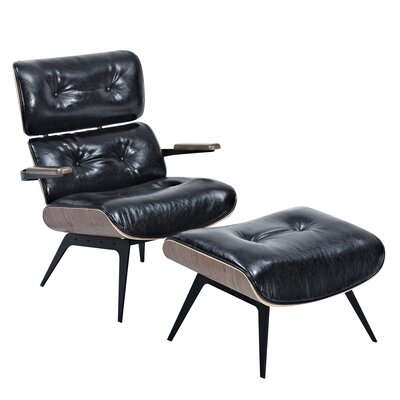 Eama Lounge Chair with Ottoman Upholstery: Milano Black, Finish: Walnut