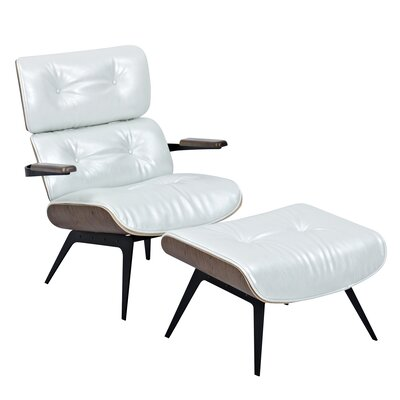 Eama Lounge Chair with Ottoman Upholstery: Pearl White, Finish: Walnut