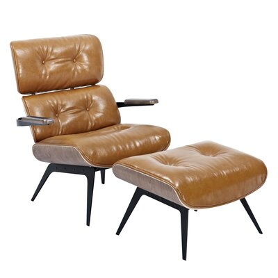 Eama Lounge Chair with Ottoman Upholstery: Caramel Brown, Finish: Walnut