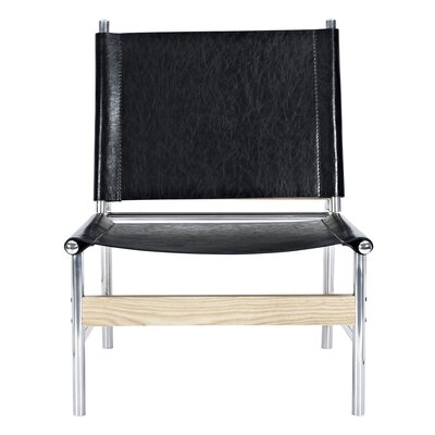 Slad Side Chair Upholstery: Milano Black, Finish: Nickel