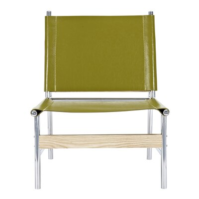 Slad Side Chair Upholstery: Olive Green, Finish: Nickel
