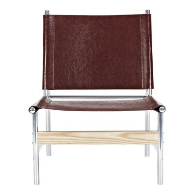 Slad Side Chair Upholstery: Aged Cognac, Finish: Nickel