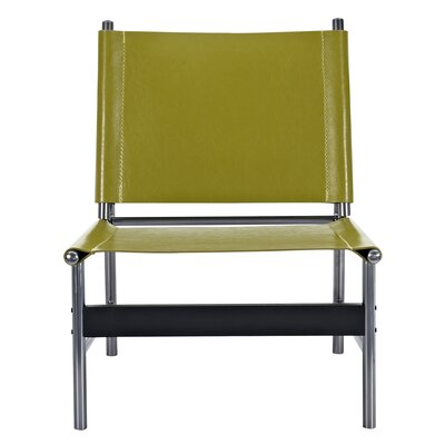 Slad Side Chair Upholstery: Olive Green, Finish: Black