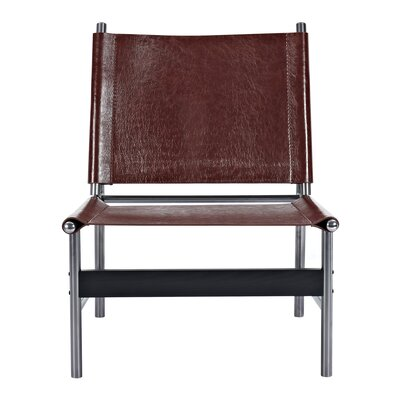 Slad Side Chair Upholstery: Aged Cognac, Finish: Black