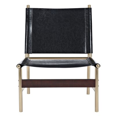 Slad Side Chair Upholstery: Milano Black, Finish: Brass