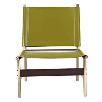 Slad Side Chair Upholstery: Olive Green, Finish: Brass