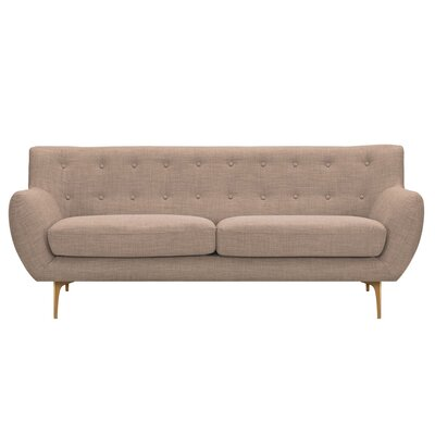 Mindy Sofa Upholstery: Light Sand, Finish: Brass