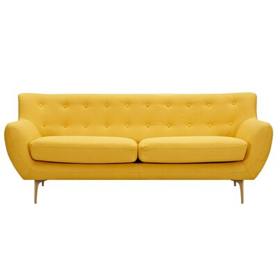 Mindy Sofa Upholstery: Papaya Yellow, Finish: Brass