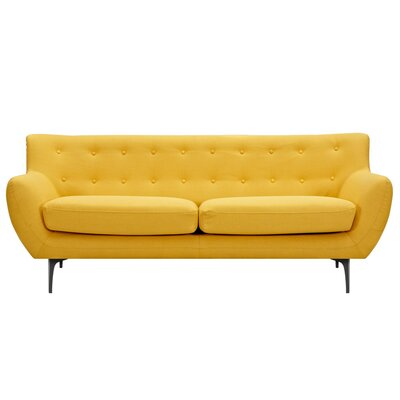 Mindy Sofa Upholstery: Papaya Yellow, Finish: Black
