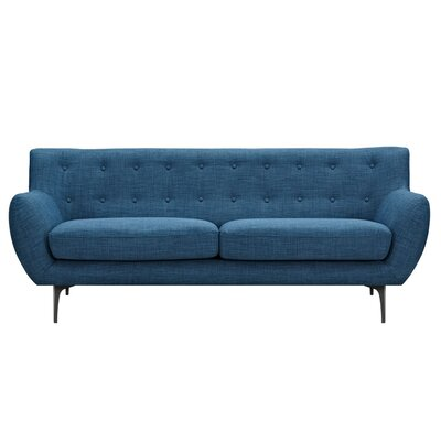 Mindy Sofa Upholstery: Stone Blue, Finish: Black