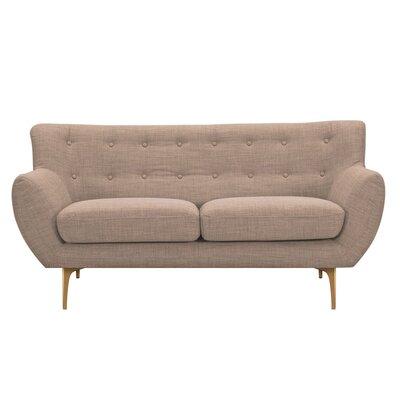Mindy Loveseat Upholstery: Light Sand, Finish: Brass