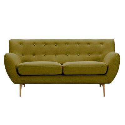 Mindy Loveseat Upholstery: Avocado Green, Finish: Brass