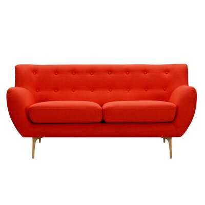 Mindy Loveseat Upholstery: Retro Orange, Finish: Brass