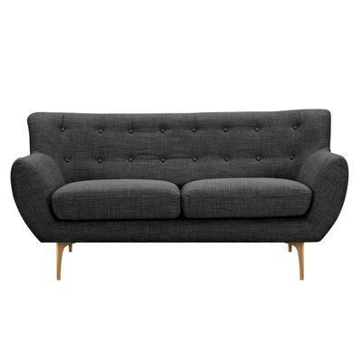 Mindy Loveseat Upholstery: Charcoal Gray, Finish: Brass