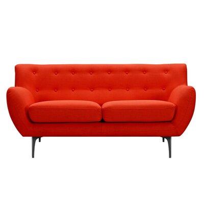 Mindy Loveseat Upholstery: Retro Orange, Finish: Black