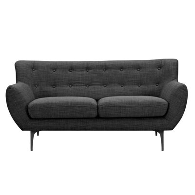 Mindy Loveseat Upholstery: Charcoal Gray, Finish: Black