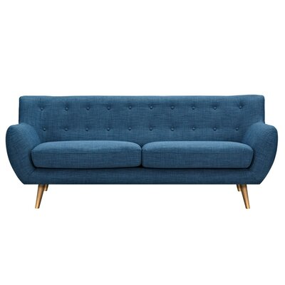 Suzanne Sofa Upholstery: Stone Blue, Finish: Brass