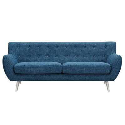 Suzanne Sofa Upholstery: Stone Blue, Finish: Silver