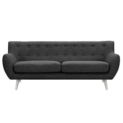 Suzanne Sofa Upholstery: Charcoal Gray, Finish: Silver