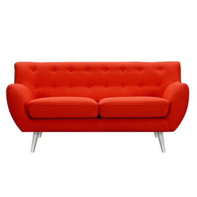 Suzanne Loveseat Upholstery: Retro Orange, Finish: Silver