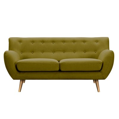 Suzanne Loveseat Upholstery: Avocado Green, Finish: Brass