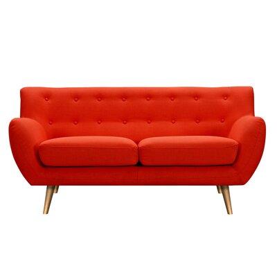 Suzanne Loveseat Upholstery: Retro Orange, Finish: Brass
