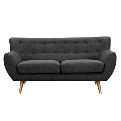 Suzanne Loveseat Upholstery: Charcoal Gray, Finish: Brass