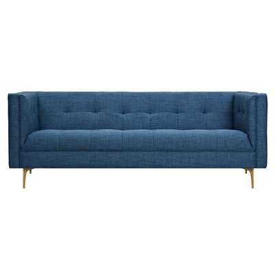 Jodi Sofa Upholstery: Stone Blue, Finish: Brass
