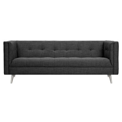 Christie Sofa Upholstery: Charcoal Gray, Finish: Silver