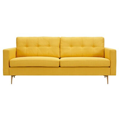 Kellie Sofa Upholstery: Papaya Yellow, Finish: Brass